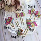 Vibrant Stripes Planner Clips, Charms or Dangle Clip