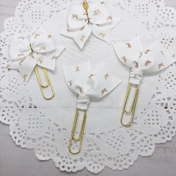 Tiny Gold Bow on White Planner Clips or Charms