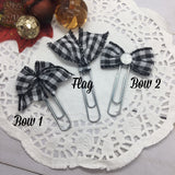 White Buffalo Plaid -Planner Bow Clips, Flag Clip, or Bow Charm