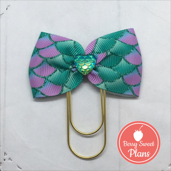 Mermaid Fun! Wide Planner Bow Clip or Charm