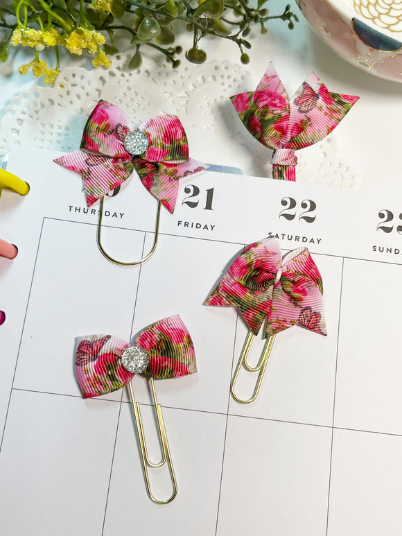 Butterflies in Pink Planner Clips or Charms
