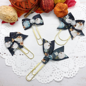 White & Blue Pumpkins on Black Planner Clips or Charms