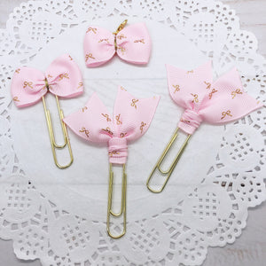 Tiny Gold Bow on Light Pink Planner Clips or Charms