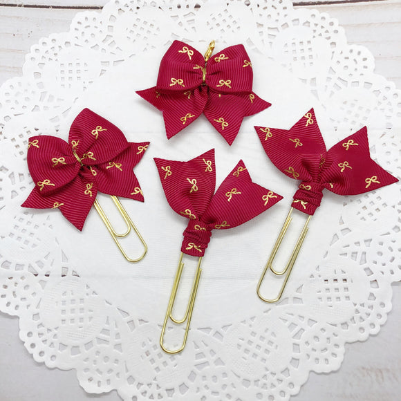 Tiny Gold Bow on Deep Red Planner Clips or Charms