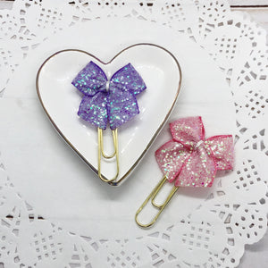 Petite Chunky Glitter Planner Bow Clip