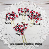Red Floral on Black/White Stripe Planner Bow Clip, Flag Clip or Bow Charm