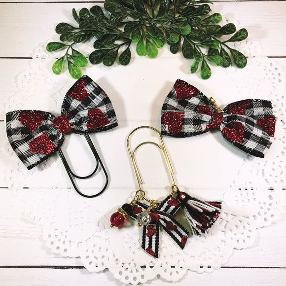 Buffalo Check w/Red Hearts Planner Bow Clip, Dangle Clip or Bow Charm