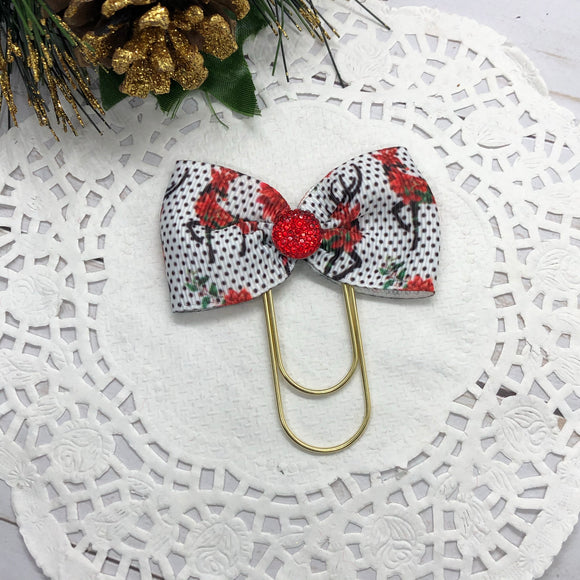 Poinsettia Reindeer Wide Planner Clip/Charm