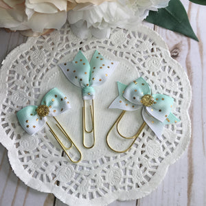 Mint Ombré w/Gold Stars Planner Clip or Charm