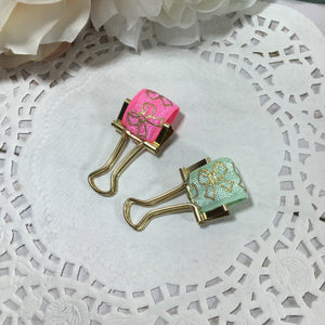 Gold Bow on Mint or Pink Pen Loops