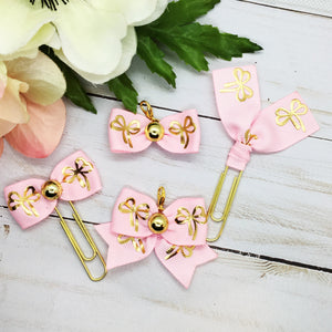Gold Bow on Pink Planner Clip or Charm