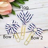 Navy Stripe w/Pink Bow Planner Bow Clip, Flag Clip or Charm
