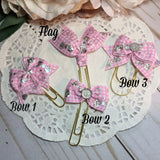 Pink Gingham Holographic Bow Planner Bow Clip, Flag Clip or Bow Charm