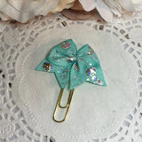 Mint Holographic Bow Planner Bow Clip, Flag Clip or Bow Charm