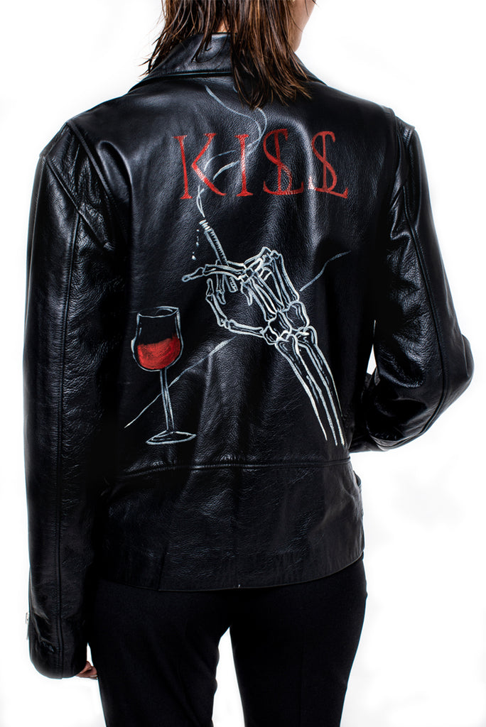 "KISSNKILL 07-Leather Jacket ""Wine n Skeleton"" unisex"