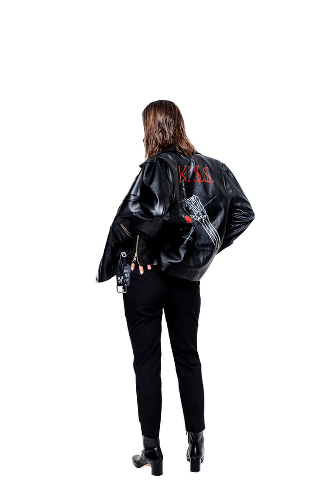 "KISSNKILL 10-Leather Jacket ""Wine n Skeleton"" unisex"