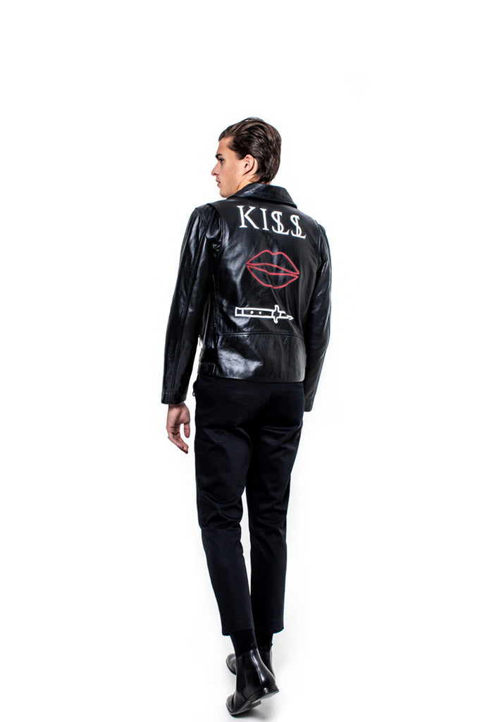 "KISSNKILL 06-Leather jacket ""Lips n Knife"" unisex"