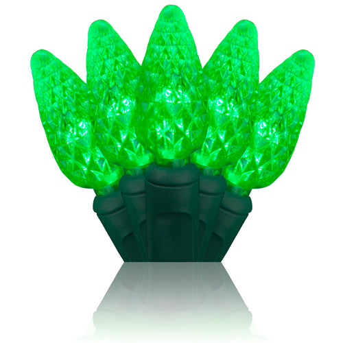 Green C6 LED Christmas lights 70 count