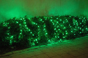 M5 Green LED Christmas lights on bushes