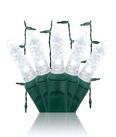 Pure white LED icicle lights on green wire