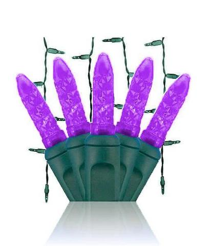Purple LED icicle lights with green wire