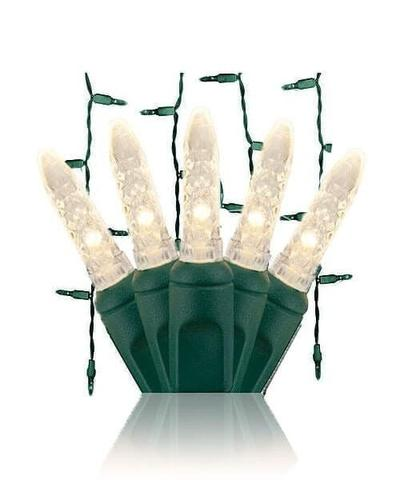 Warm white LED icicle lights on green wire