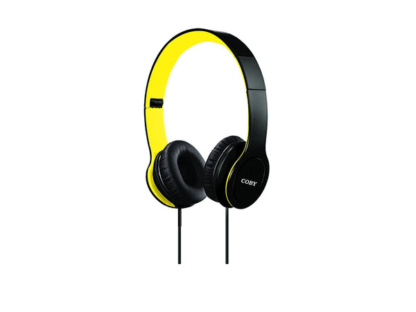 Coby CVH-801-YLW Folding Stereo Headphones - Yellow