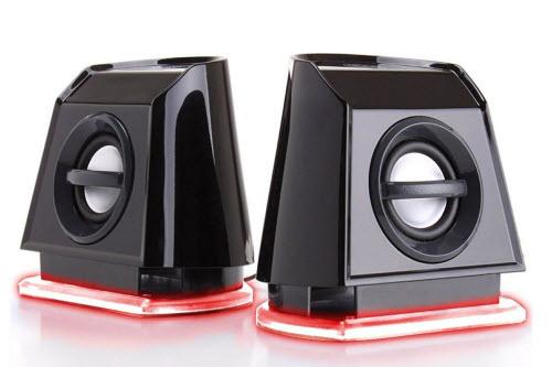GOgroove 2MX LED Computer Speakers with Passive Subwoofer, Red Glowing Lights and Volume Control