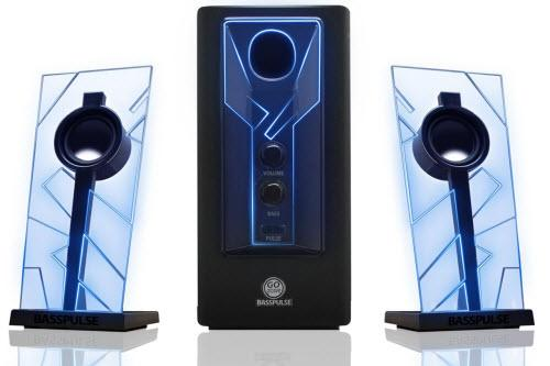GOgroove BassPULSE 2.1 Computer Speakers with Blue LED Glow Lights and Powered Subwoofer