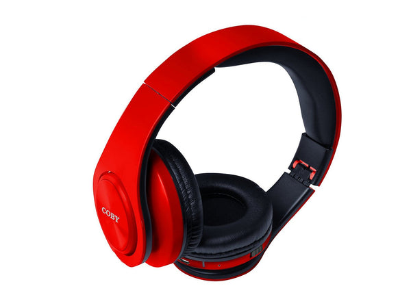 Coby CHBT-611-RED Valor Folding Bluetooth Stereo Headphones - Red