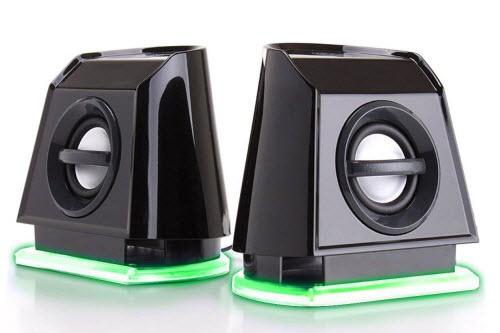 GOgroove 2MX LED Computer Speakers with Passive Subwoofer, Green Glowing Lights and Volume Control