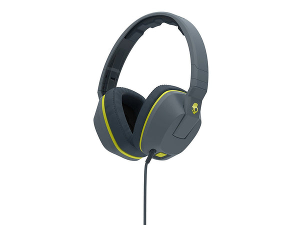 Skullcandy Crusher Headphones with Built-in Amplifier and Mic - Grey and Hot Lime