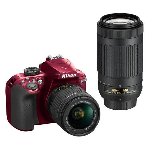 "Nikon D3400 24.2 MP Triple Lens Ultimate Parent's Camera Kit, 3.0"", Red"