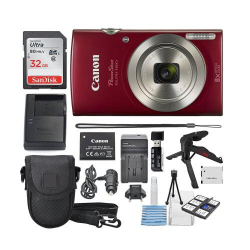 Canon PowerShot ELPH 180 Digital Camera - Red - Deluxe Bundle