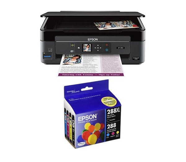 Epson Expression Home XP-340 Wireless Color Photo Printer - 4 Pack Ink