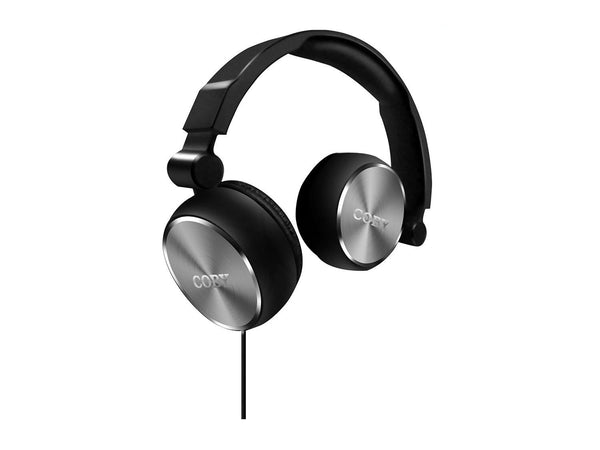 Coby CVH-804-SLV Aluminum Foldz Headphones with Built-In Mic - Silver