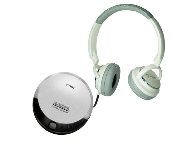 Coby Portable Compact CD Player Headphones - Silver