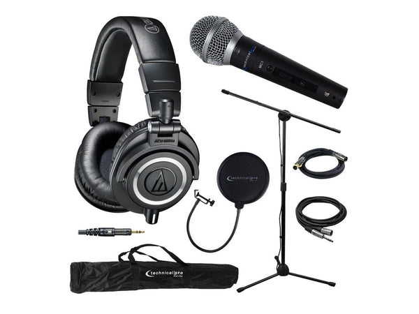 Audio-Technica ATH-M50X Professional Studio Headphones Bundle