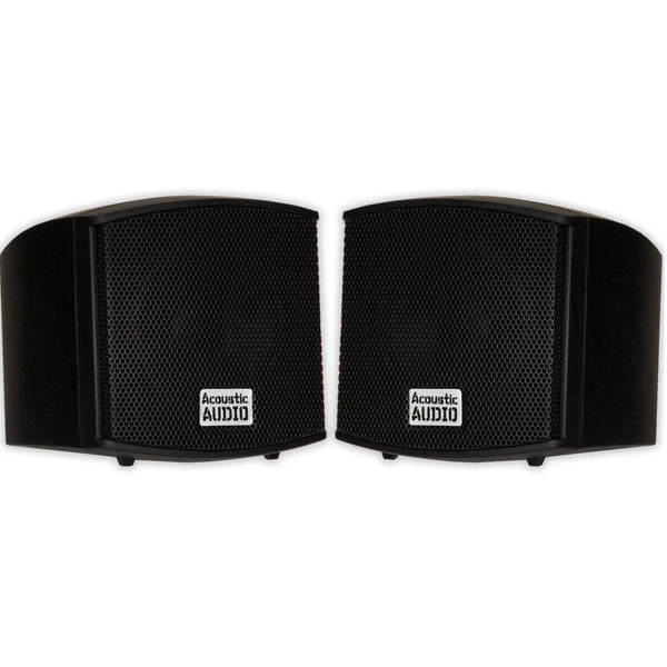 Acoustic Audio AA321B Mountable Indoor Speakers 1600 Watts Black 4 Pair Pack AA321B-4Pr