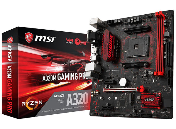 MSI Gaming AMD Ryzen A320 DDR4 VR Ready HDMI USB 3 micro-ATX Motherboard