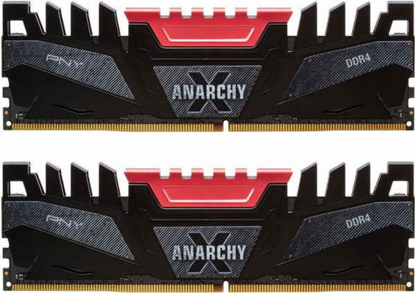 PNY - Anarchy-X 16GB (2PK 8GB) 3.2GHz DDR4 Desktop Memory - Red