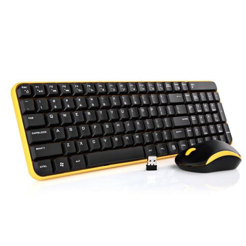 Jelly Comb MK08 Ultra Compact Wireless Keyboard and Mouse Combo - Black / Yellow