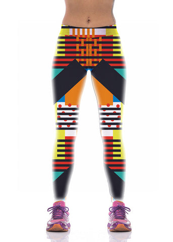 Chic Colorful Special Fitness Printed Leggings For Women