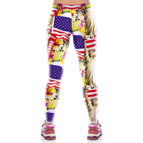 Statue Of Liberty Pattern Cheap Gym Pencil Leggings Sexy For Women