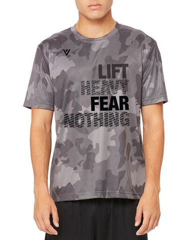 "Men's ""Lift Heavy, Fear Nothing"" Black Laser Camo Crew"