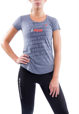 "Women's ""I Run"" Angel Scoop Neck Short Sleeve"