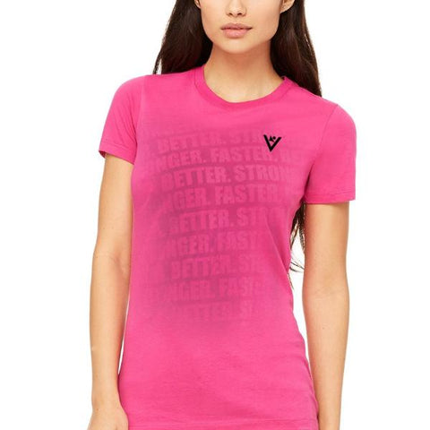 "Women's ""Faster, Better, Stronger"" Short Sleeve Crew Berry"