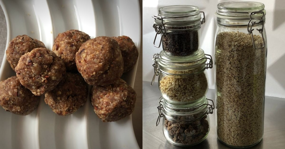 cacao energy balls with 5 refills and water