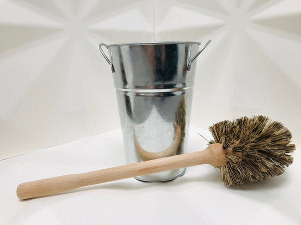 wooden toilet brush & metal holder