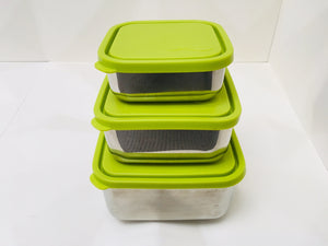 stainless steel square nesting trio containers